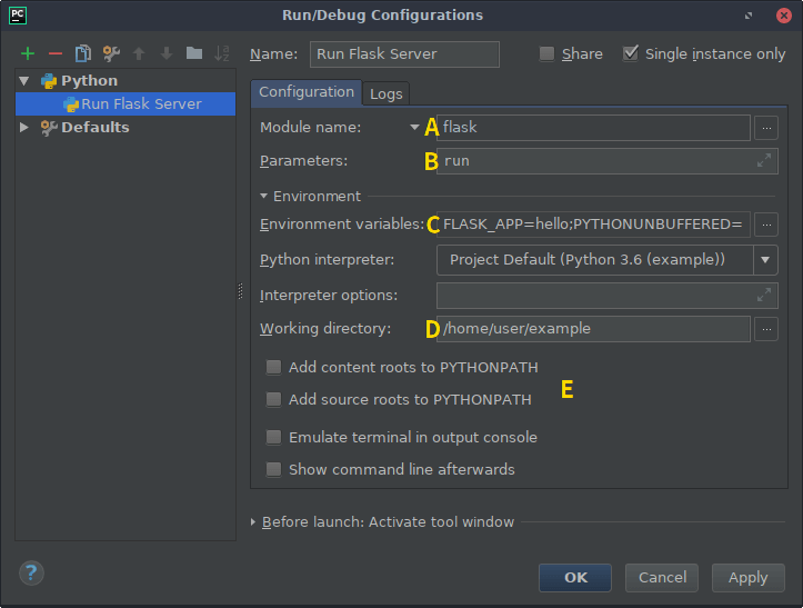 screenshot of pycharm's run configuration settings